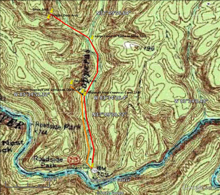 Red River Gorge Topographic Map.Snow Arch Double Deer Arch And Hopewell Arch 2 0 Miles Unmarked