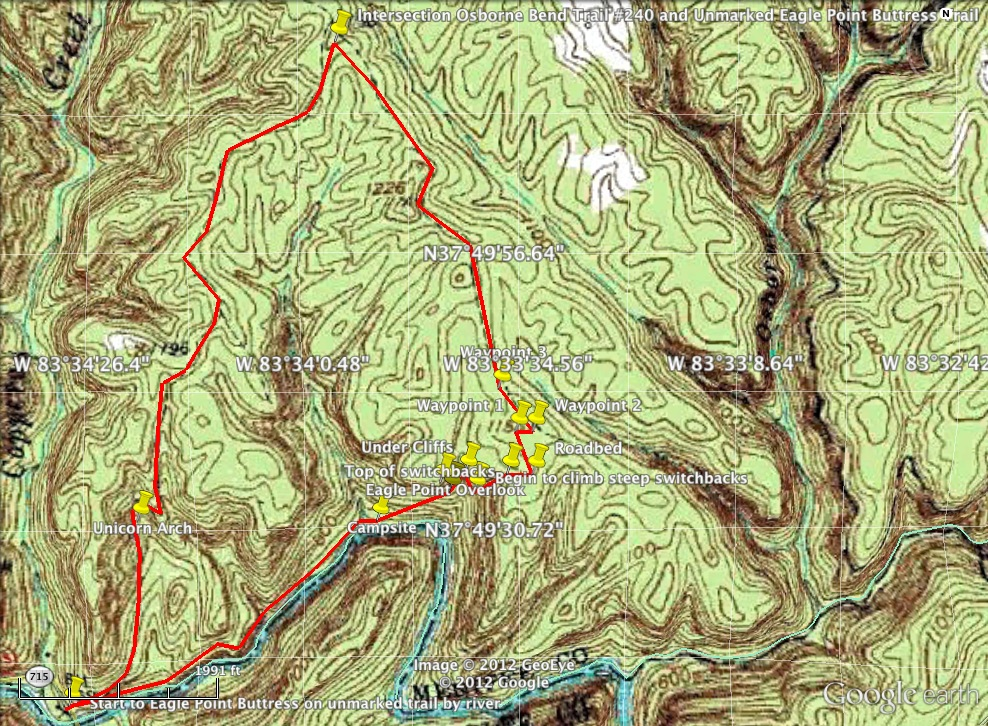 Eagle Point Buttress Loop Trail Miles Unmarked To Red - Unmarked map